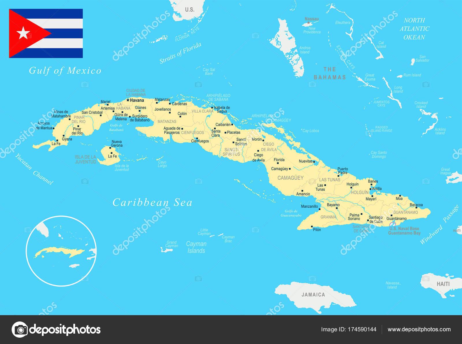 Carte Cuba Detaillee.Carte De Cuba Illustration Detaillee De Vecteur Image