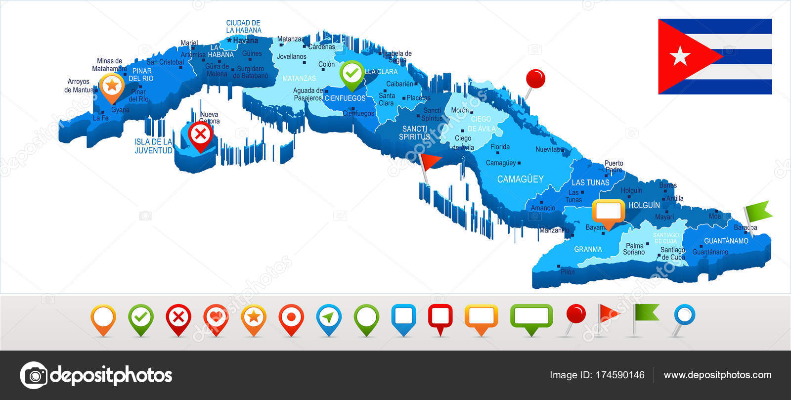 Karte Kuba.Kuba Karte Und Flagge Detaillierte Vektor Illustration
