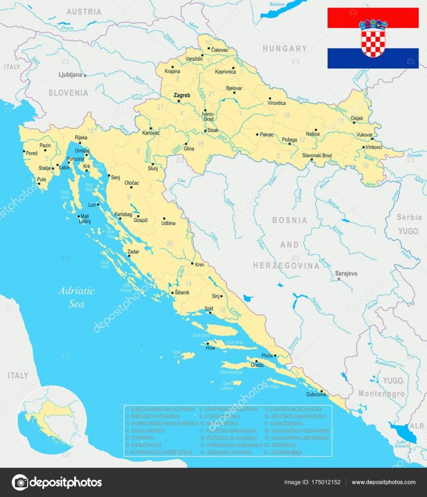 Carte Croatie A Telecharger.Carte De Croatie Illustration Detaillee De Vecteur Image