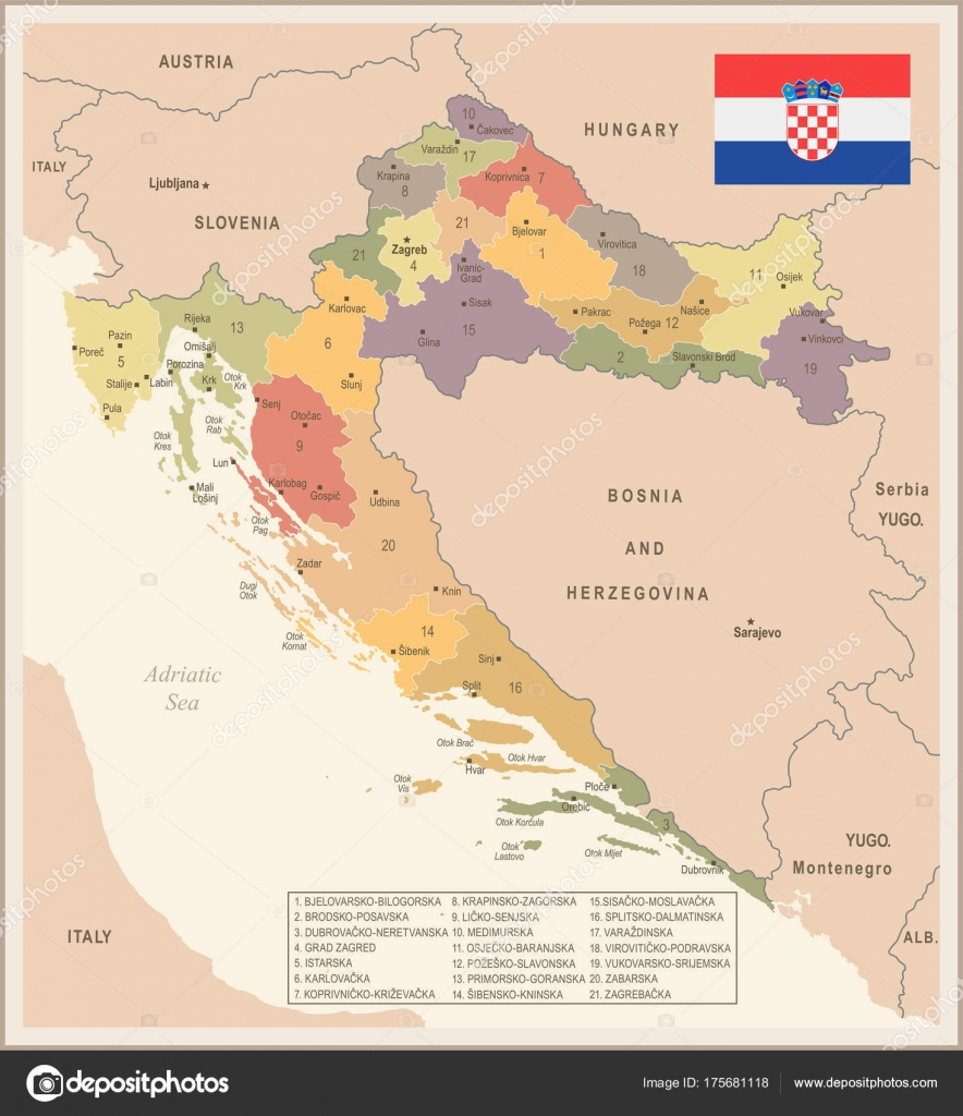 Croatia Vintage Map And Flag Detailed Vector Illustration