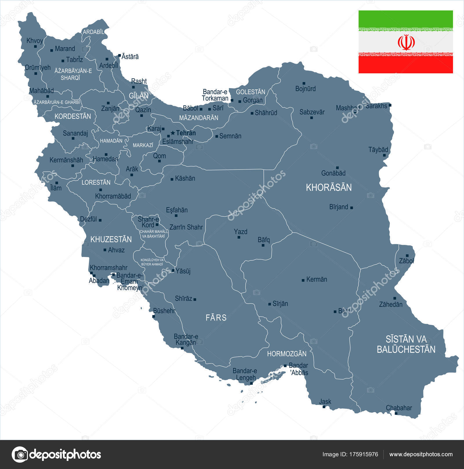 Iran On Map Of World.Iran Map And Flag Detailed Vector Illustration Stock Vector