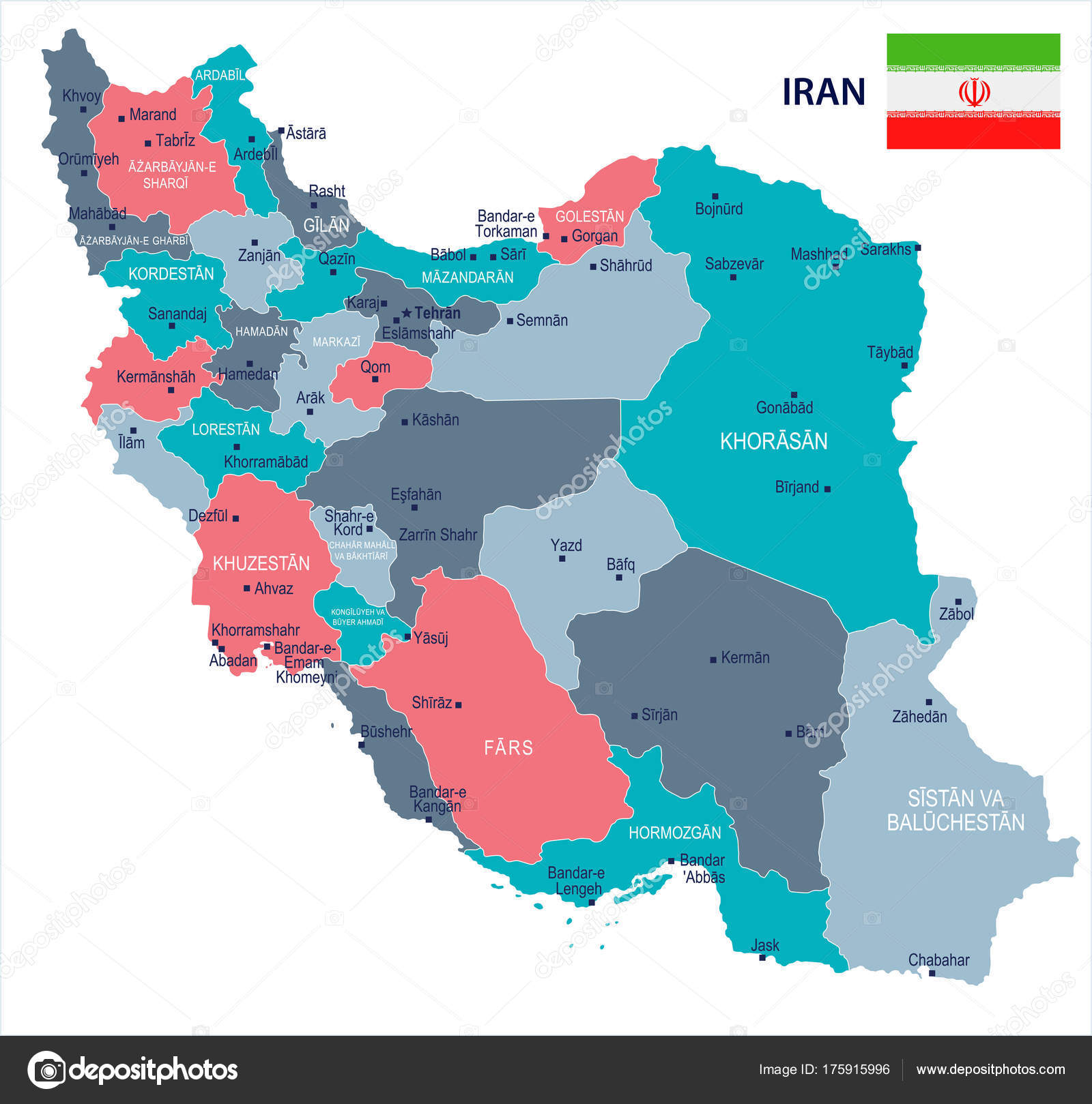 iran map and flag high detailed vector illustration vector by dikobrazik
