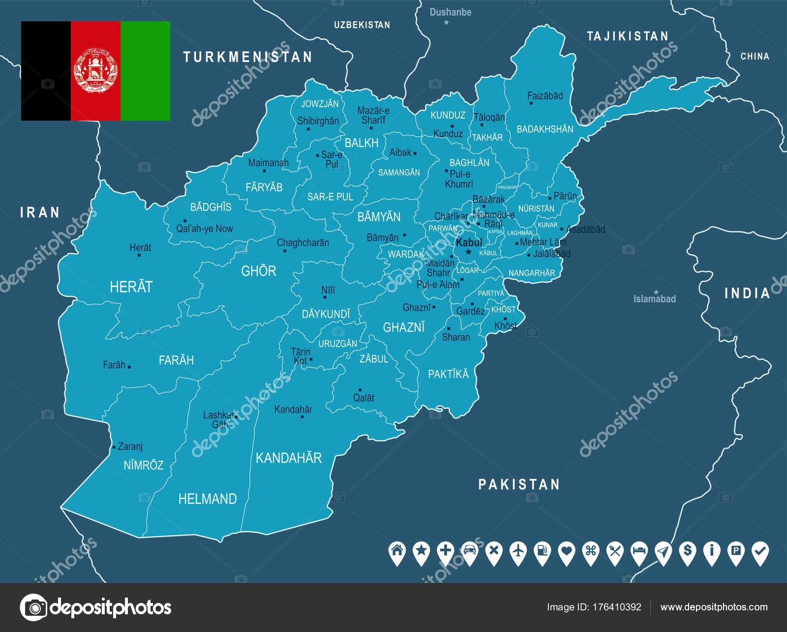 Afghanistan Map And Flag Detailed Vector Illustration Stock - Charikar map