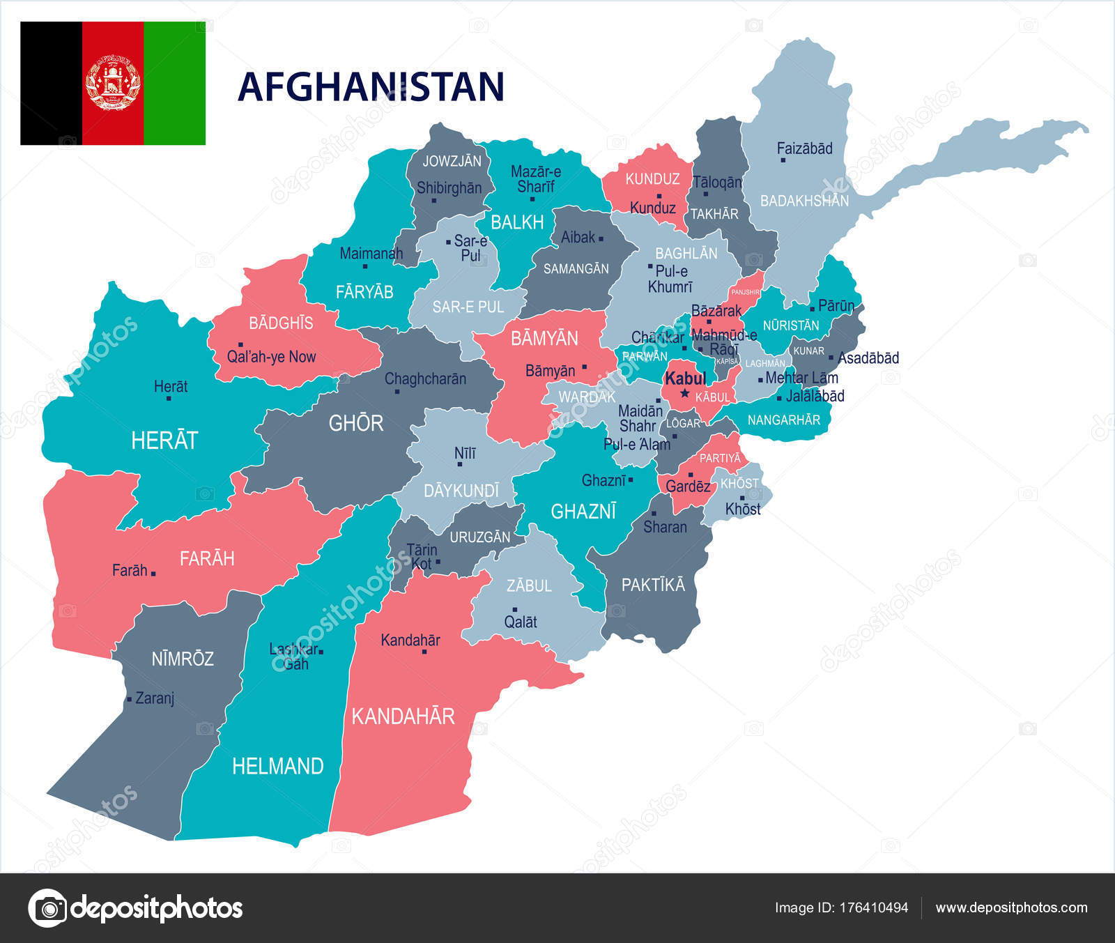 Afghanistan Map And Flag Detailed Vector Illustration Stock