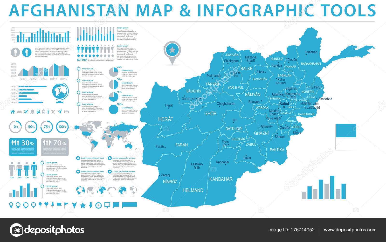 Afghanistan map info graphic vector illustration stock vector afghanistan map detailed info graphic vector illustration vector by dikobrazik gumiabroncs Images