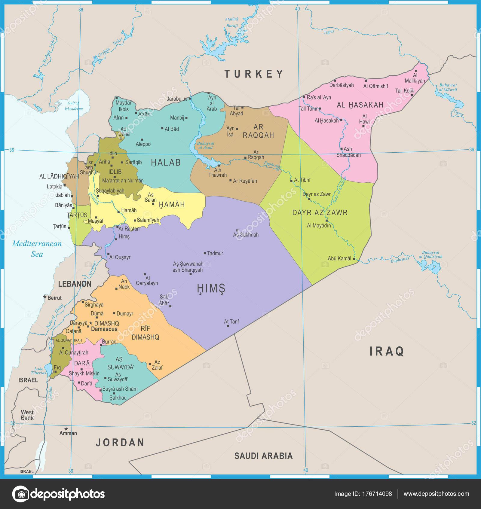 Ilustracion Siria Mapa Politico Siria Mapa Ilustración