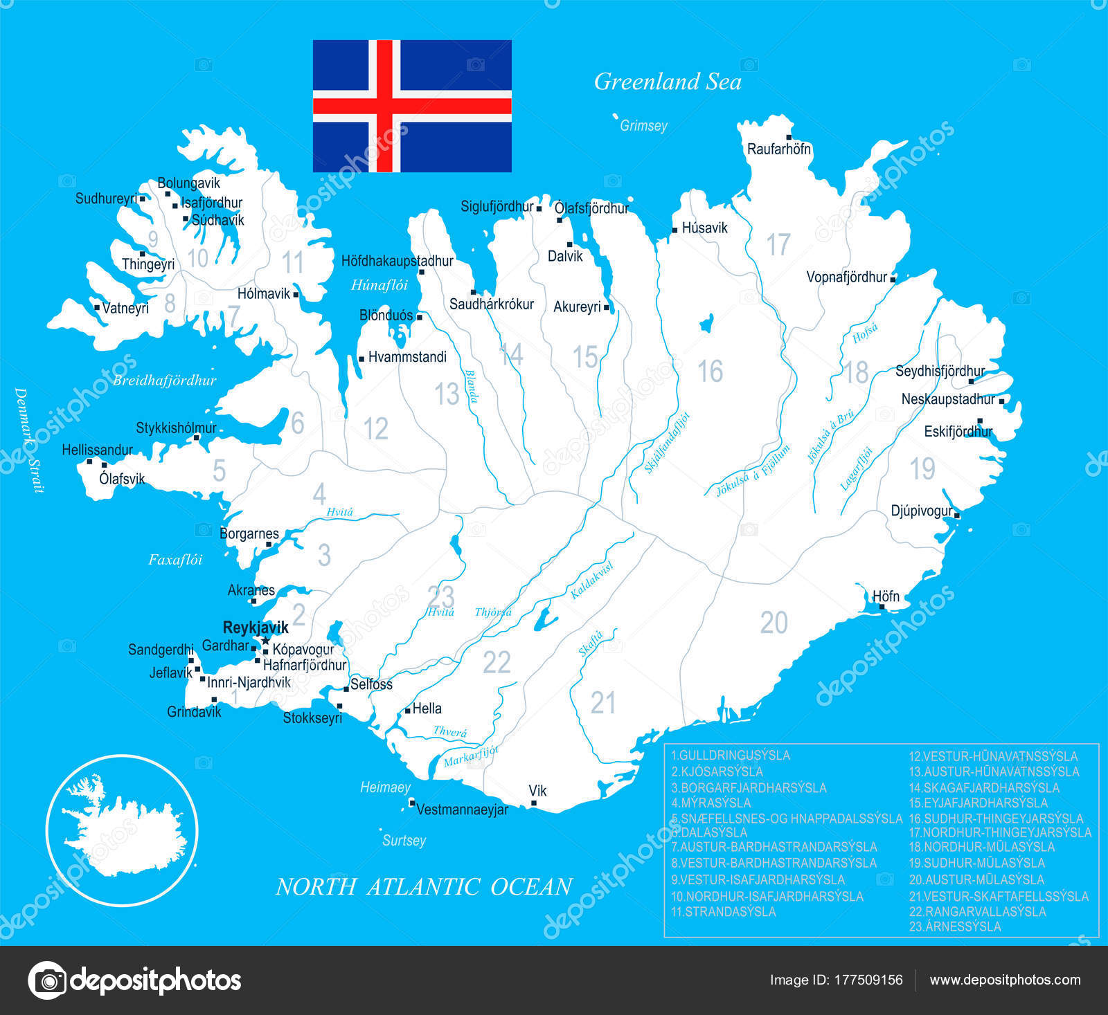 Iceland Map - detailed vector illustration — Stock Vector ...