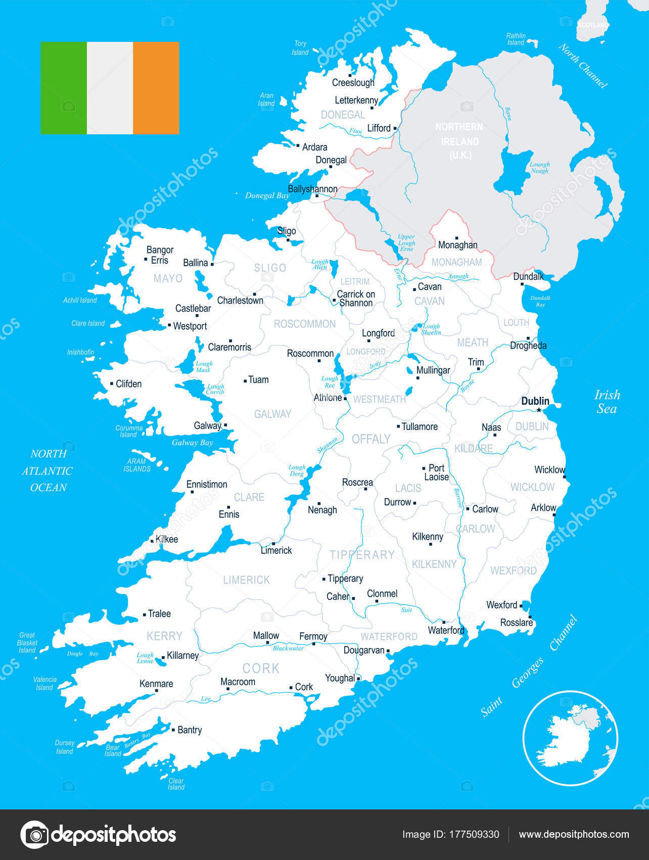 Detailed Map Of Ireland Vector.Ireland Map Detailed Vector Illustration Stock Vector