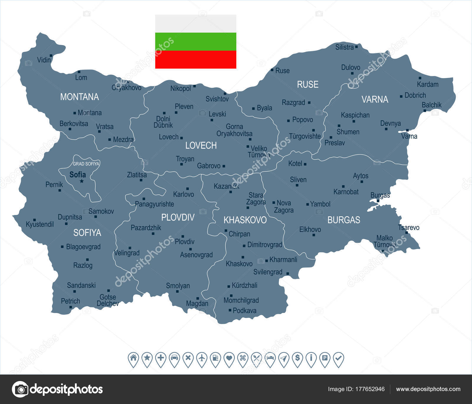 Bulgaria On Map Of World.Bulgaria Map And Flag Detailed Vector Illustration Stock
