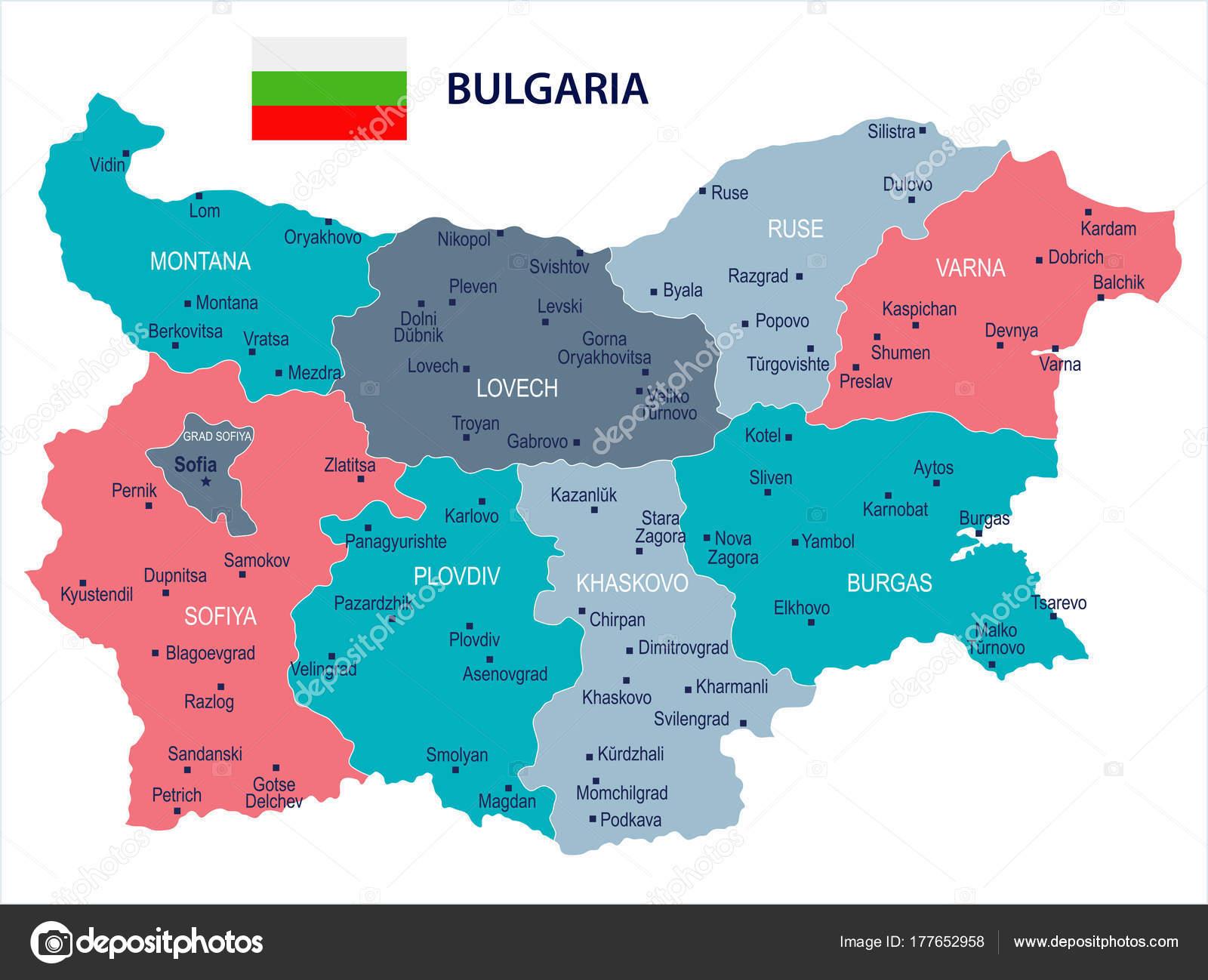 Karte Bulgarien.Bulgarien Karte Und Flagge Detaillierte Vektor