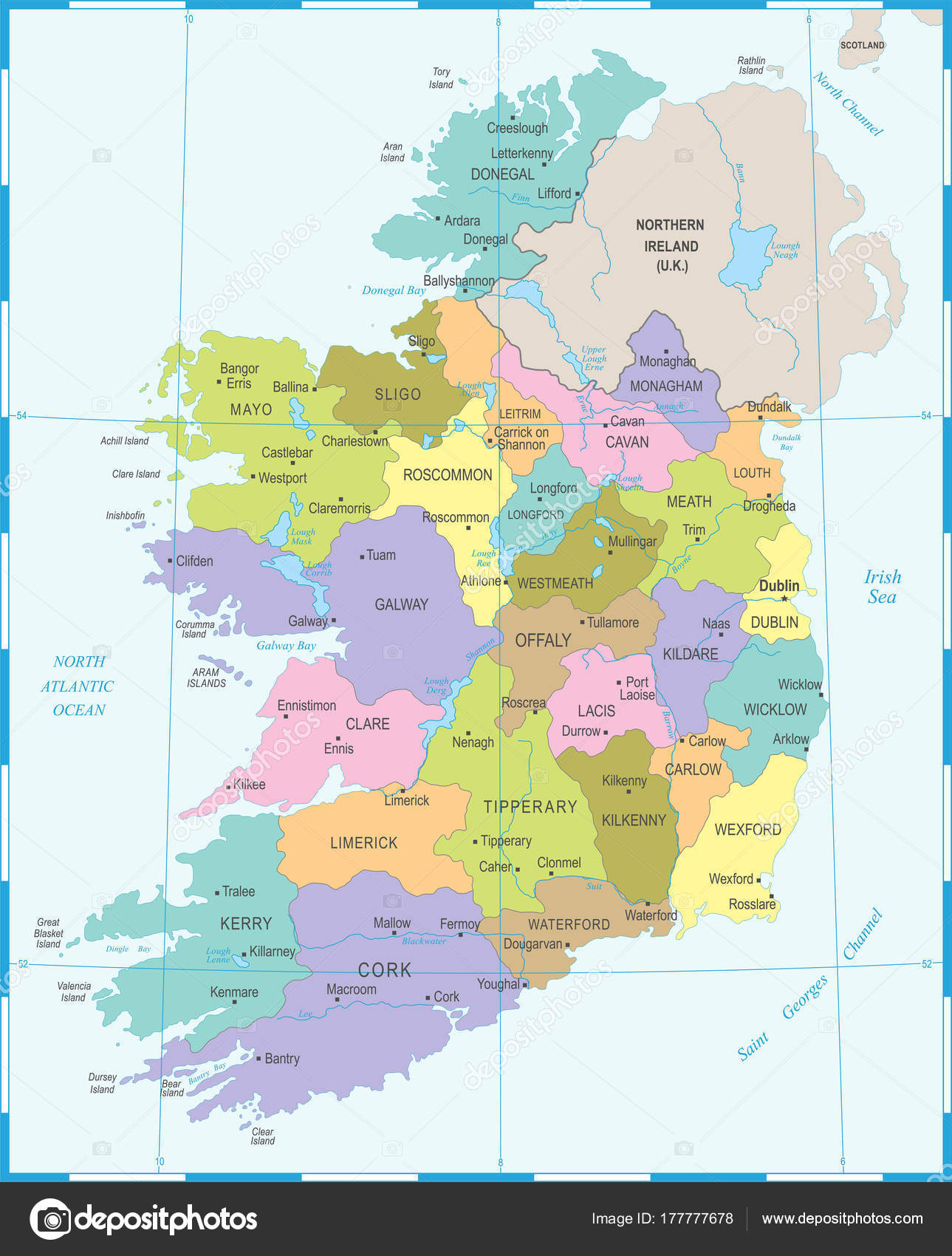 Detailed Map Of Ireland.Ireland Map Detailed Vector Illustration Stock Vector
