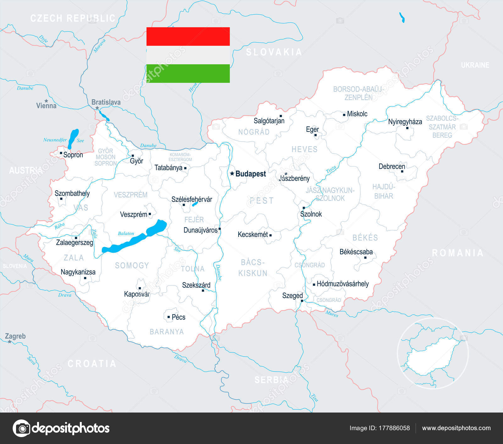 Hungary Map Detailed Vector Illustration Stock Vector
