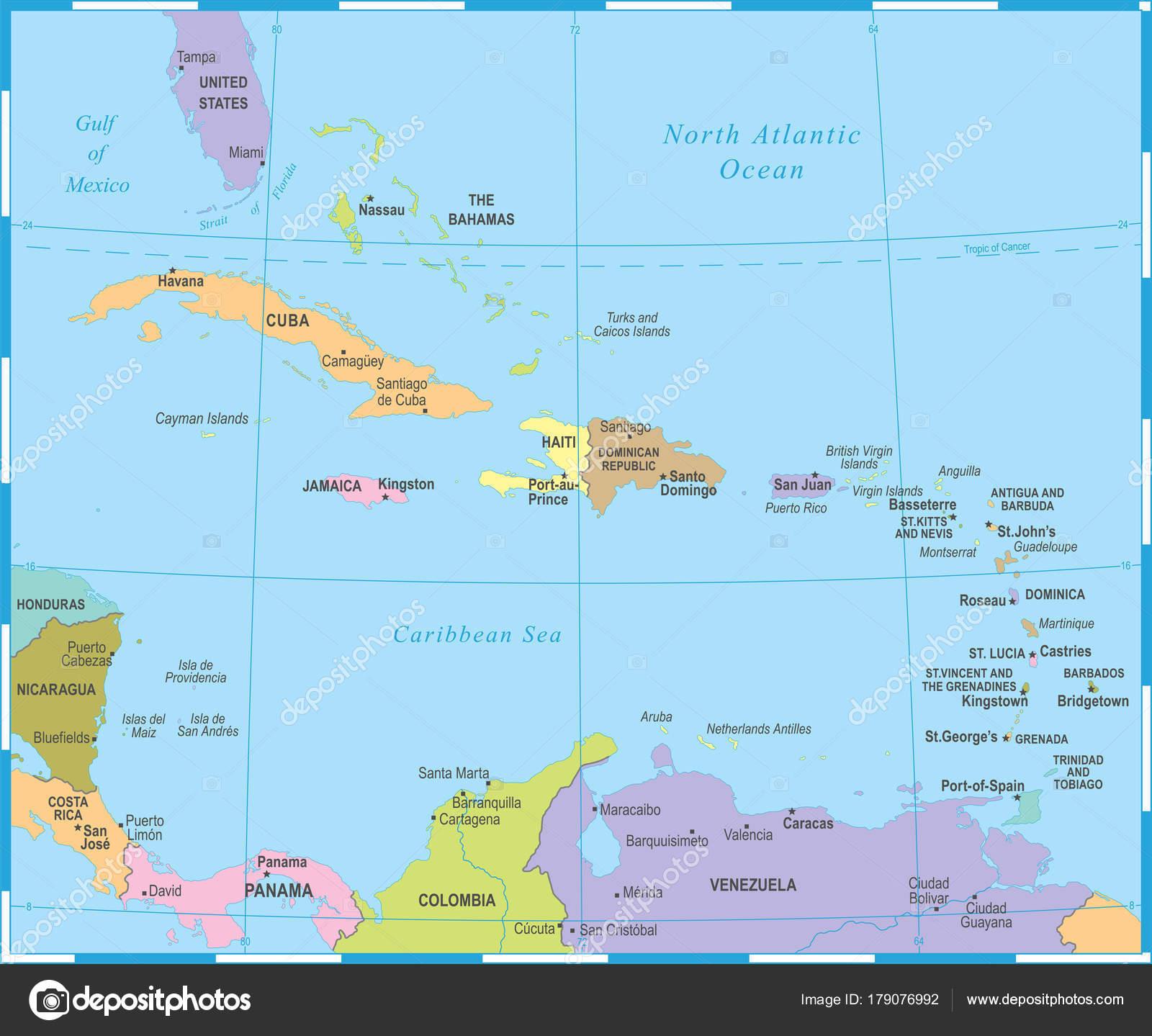 Karibik Karte.Die Karibik Karte Vektor Illustration Stockvektor Dikobrazik