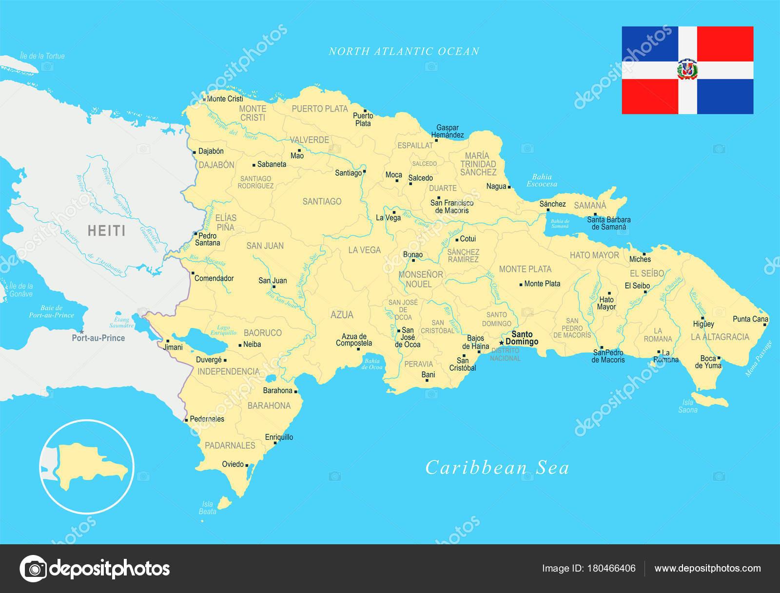 Dominikanische Republik Karte Detaillierte Vektor Illustration