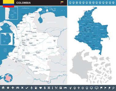 Colombia - infographic map - Detailed Vector Illustration