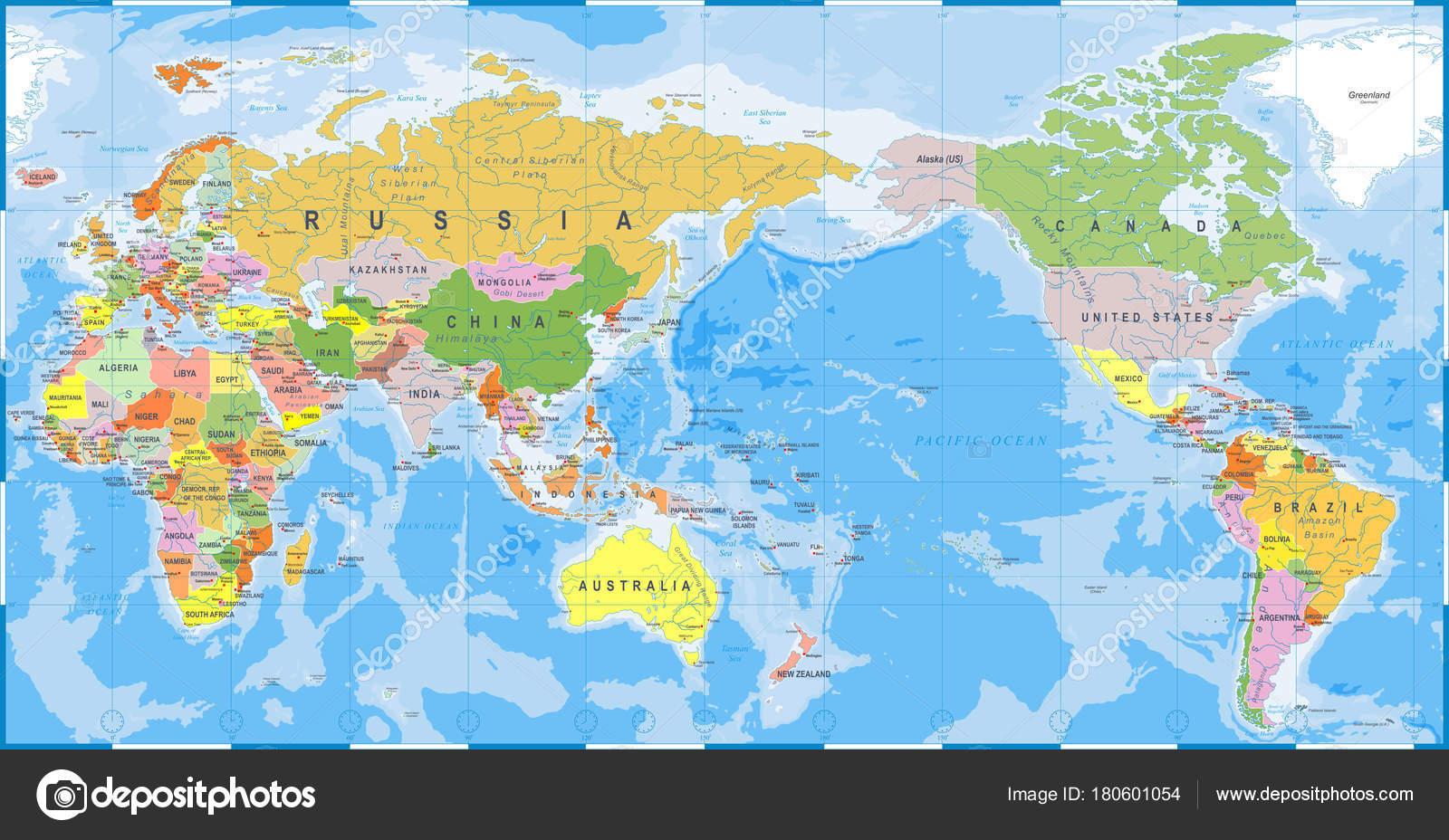 asien weltkarte Detaillierte Weltkarte Farbe   Asien im Zentrum — Stockvektor  asien weltkarte
