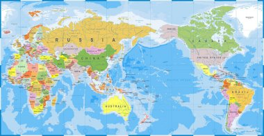 World Map Color Detailed - Asia in Center