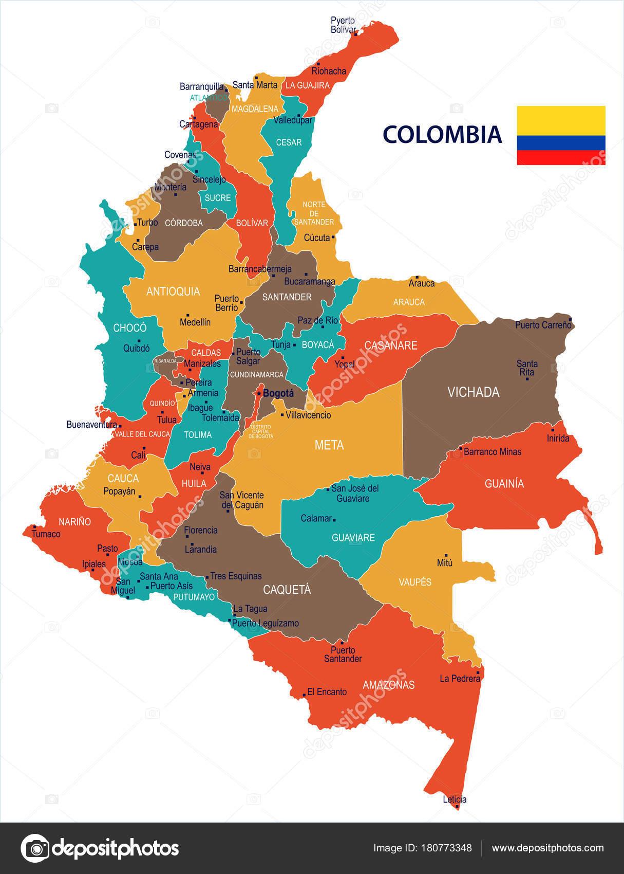 Colombia mapa y detallada ilustracin de Vector de la bandera