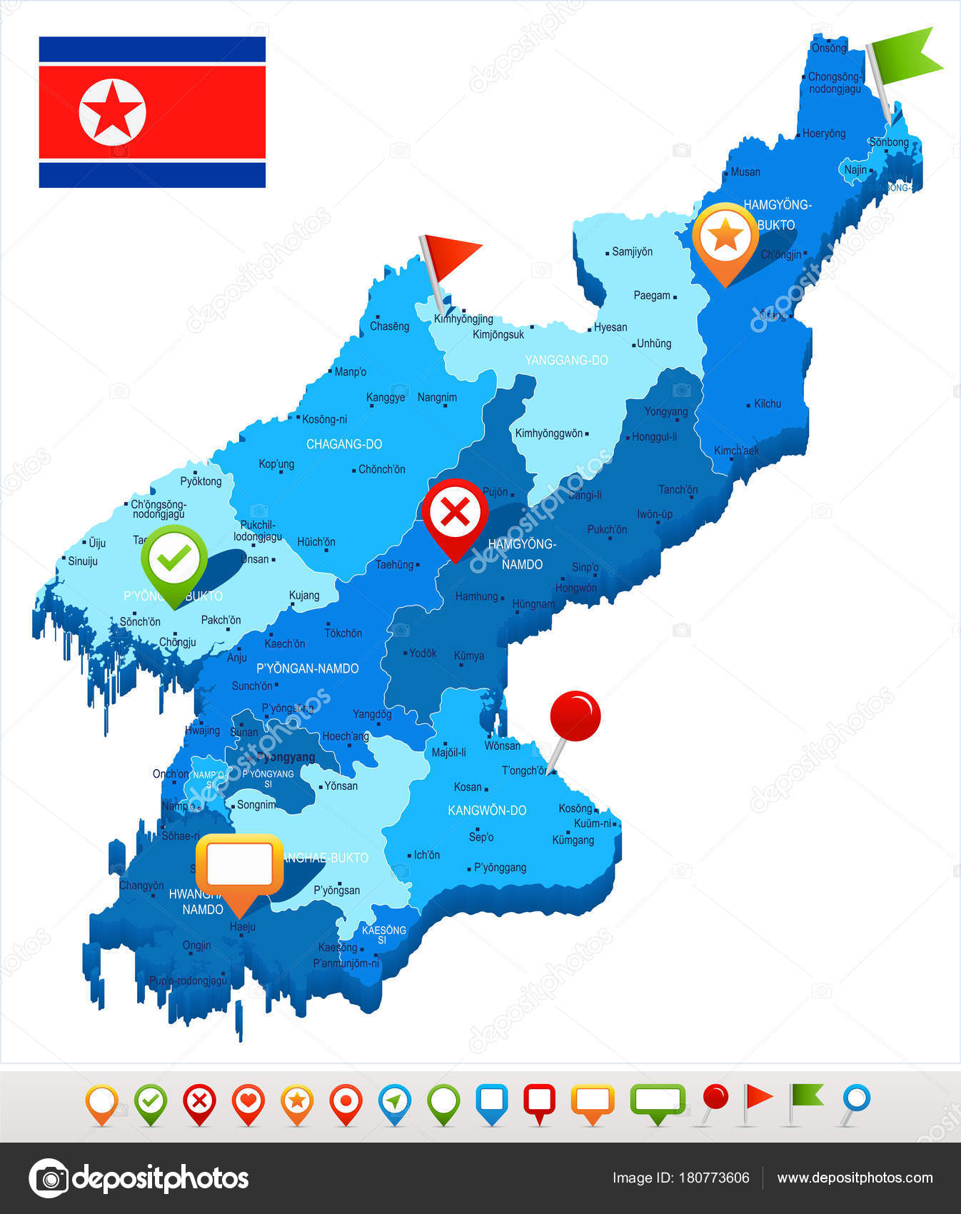 North Korea - map and flag - Detailed Vector Illustration — Stock ...