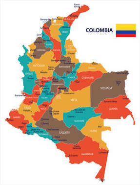 Colombia - map and flag Detailed Vector Illustration
