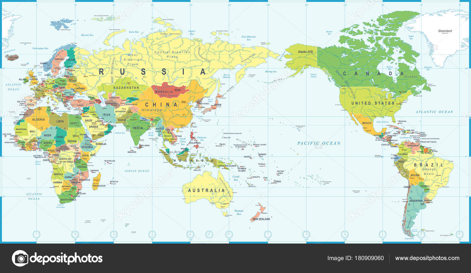World Map Color Asia In Center Stock Vector C Dikobrazik 180909060 - World-map-with-us-in-center