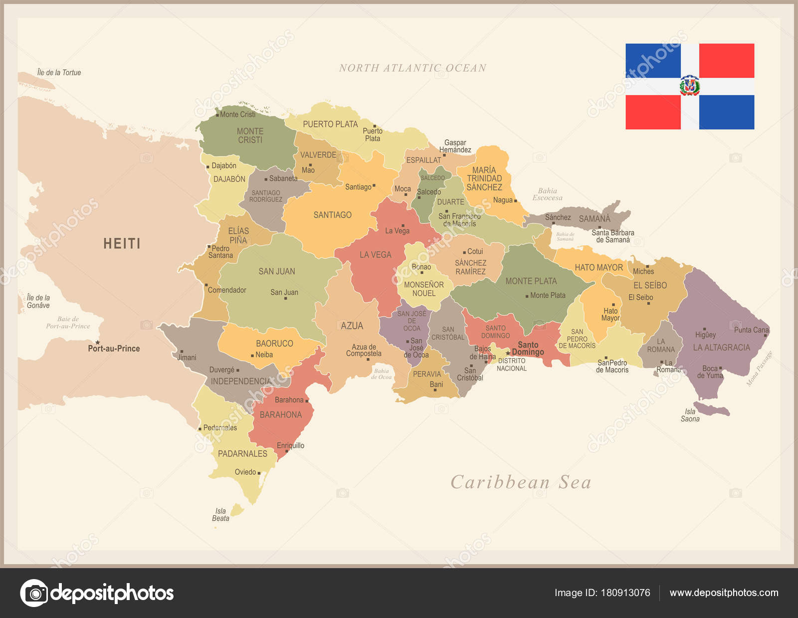 Dominican Republic - vintage map and flag - Detailed Vector ... on