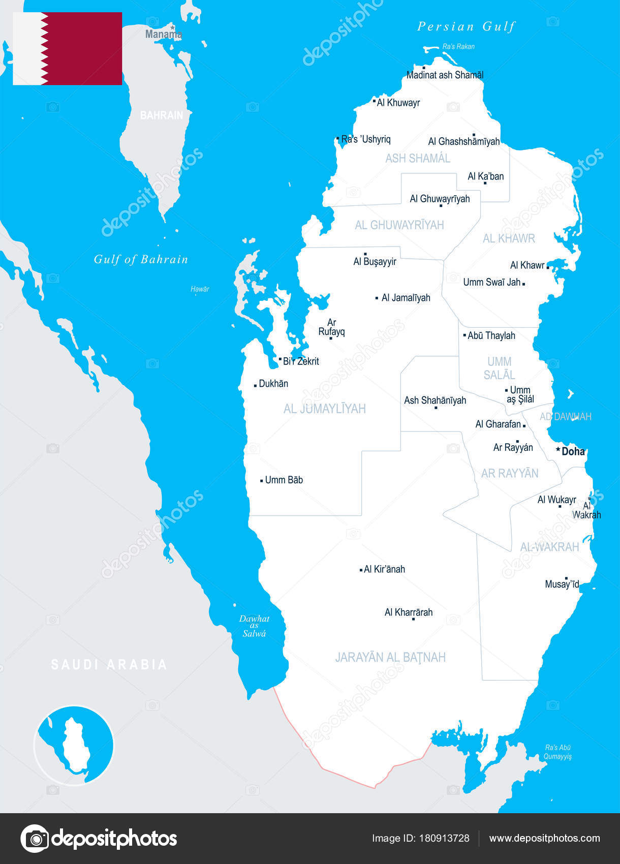 Qatar Map - detailed vector illustration — Stock Vector © dikobrazik ...