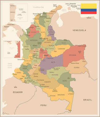 Colombia - vintage map and flag - Detailed Vector Illustration
