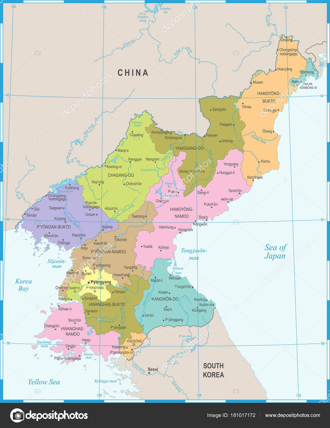 North Korea Map Detailed Vector Illustration Stock Vector