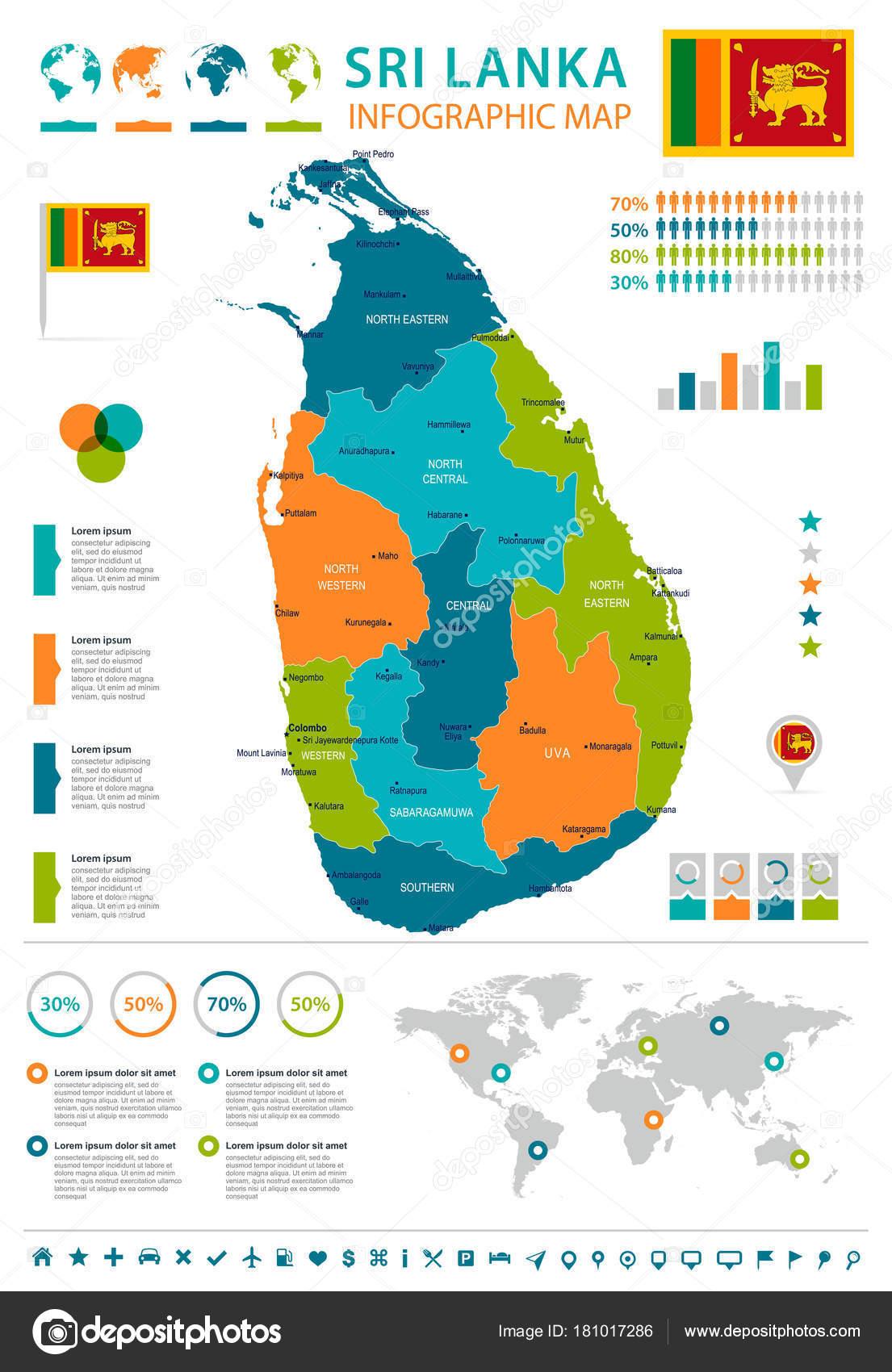 Sri Lanka infographic map and flag Detailed Vector Illustration