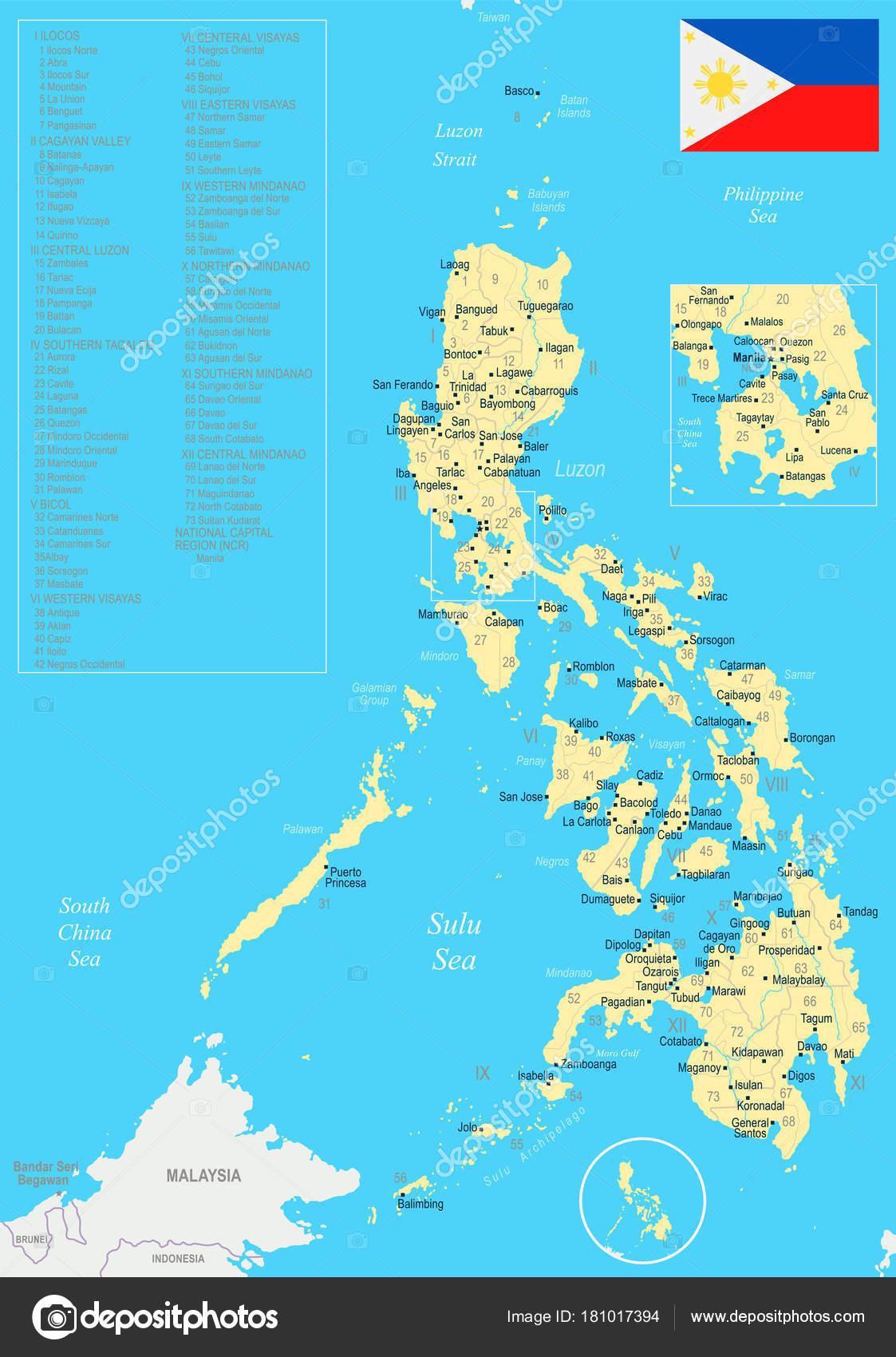 Karte Philippinen.Philippinen Karte Detaillierte Vektor Illustration Stockvektor