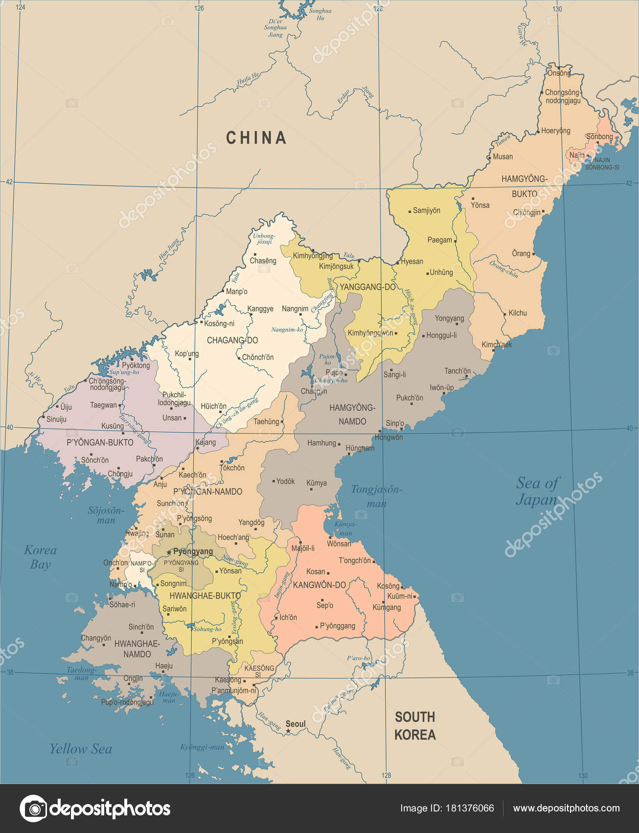 North Korea Map - Vintage Detailed Vector Illustration — Stock ...