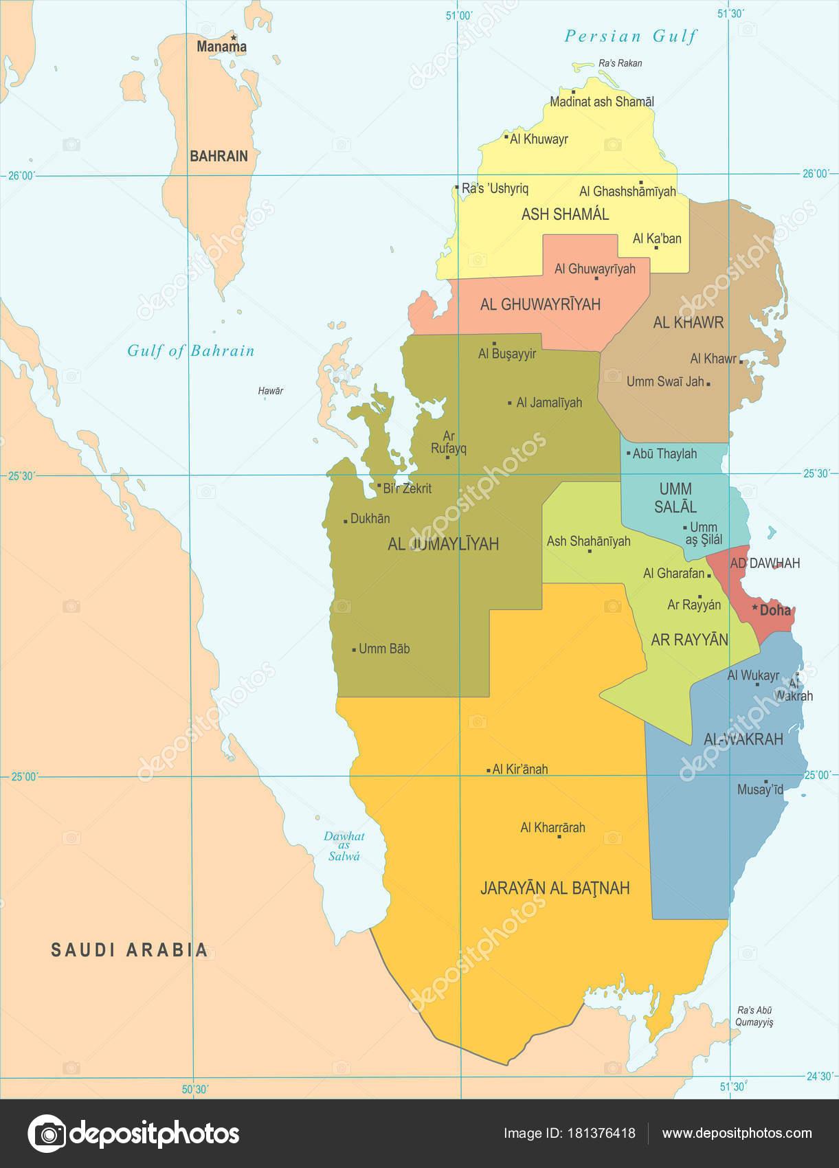 katar landkarte Katar Landkarte   detaillierte Vektor Illustration — Stockvektor  katar landkarte