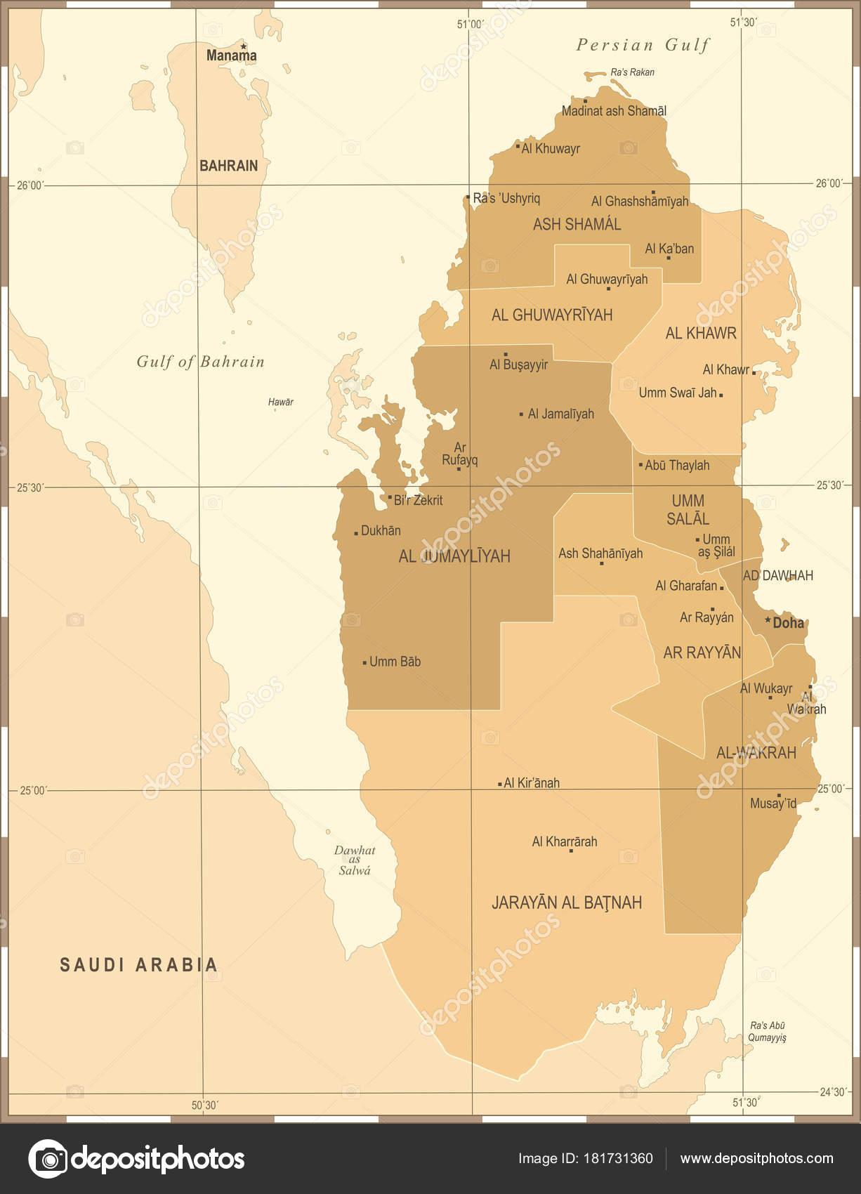 Qatar Karta Vintage Hog Detaljerad Vektorillustration Stock Vektor