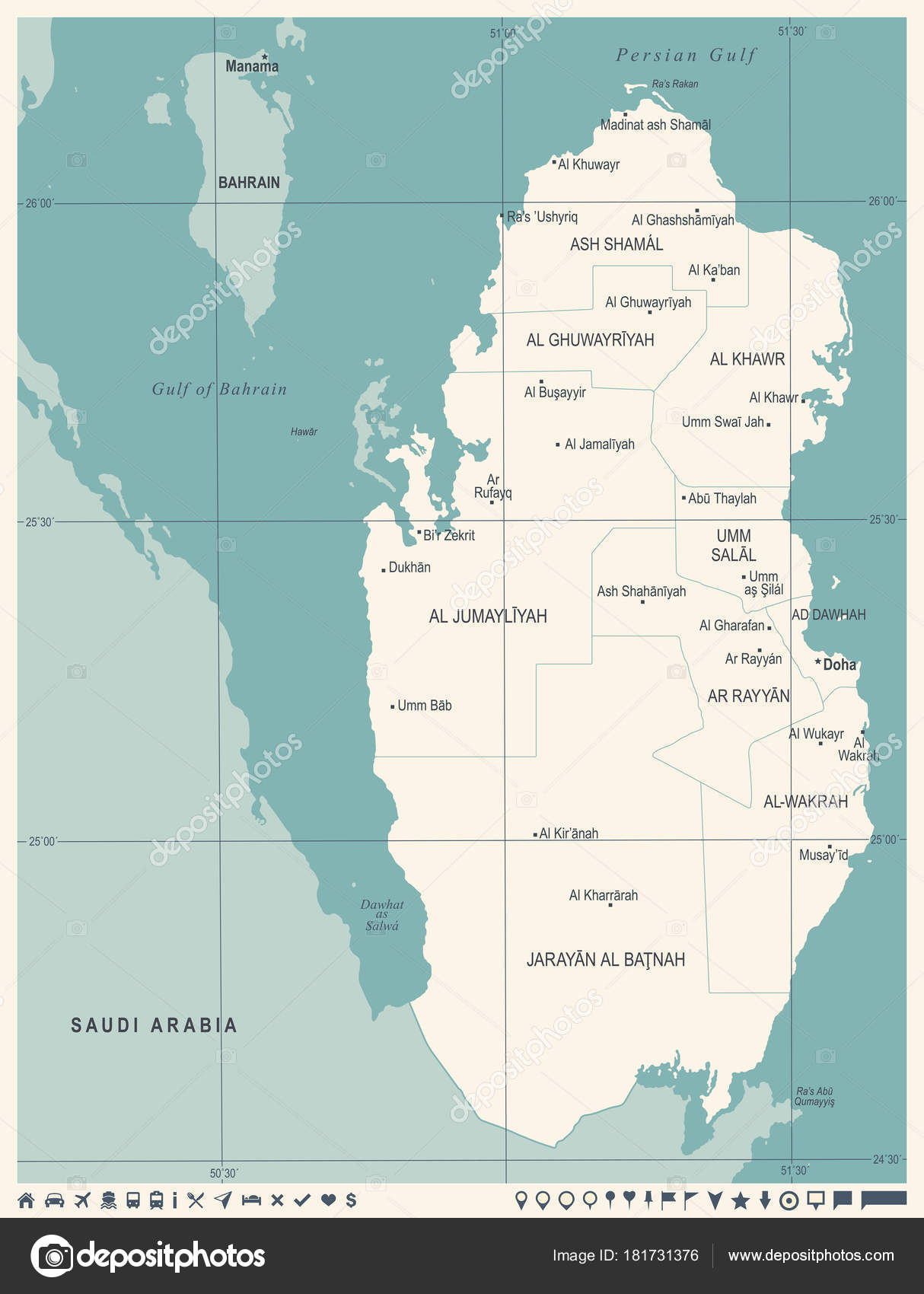 Qatar Map Vintage High Detailed Vector Illustration — Stock Vector ...