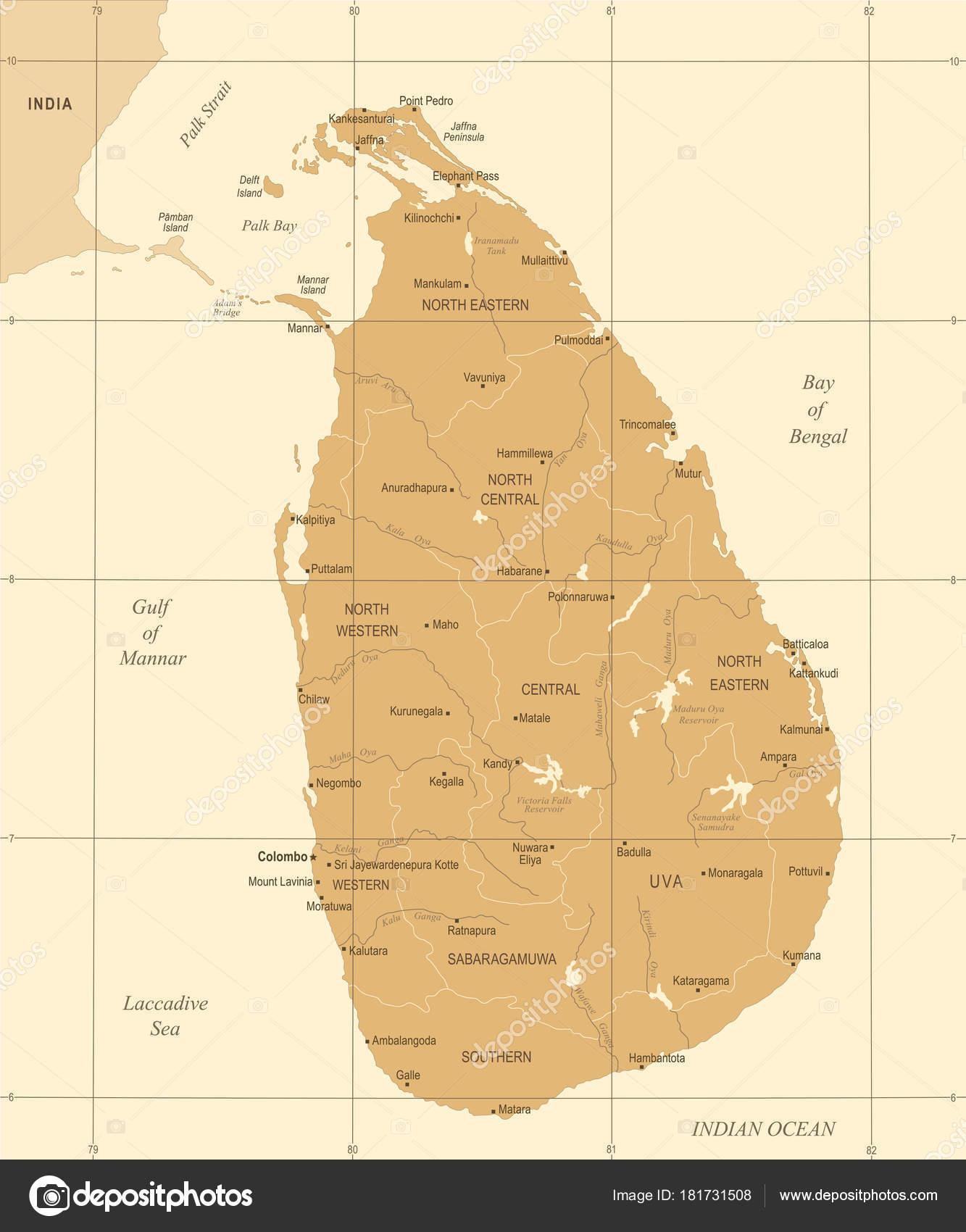 Sri Lanka Map Vintage High Detailed Vector Illustration Stock