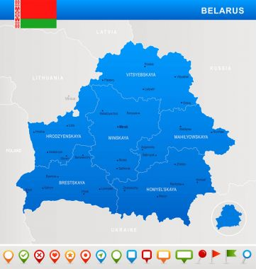 Belarus - map, flag and navigation icons - Detailed Vector Illustration