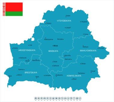 Belarus - map and flag - Detailed Vector Illustration