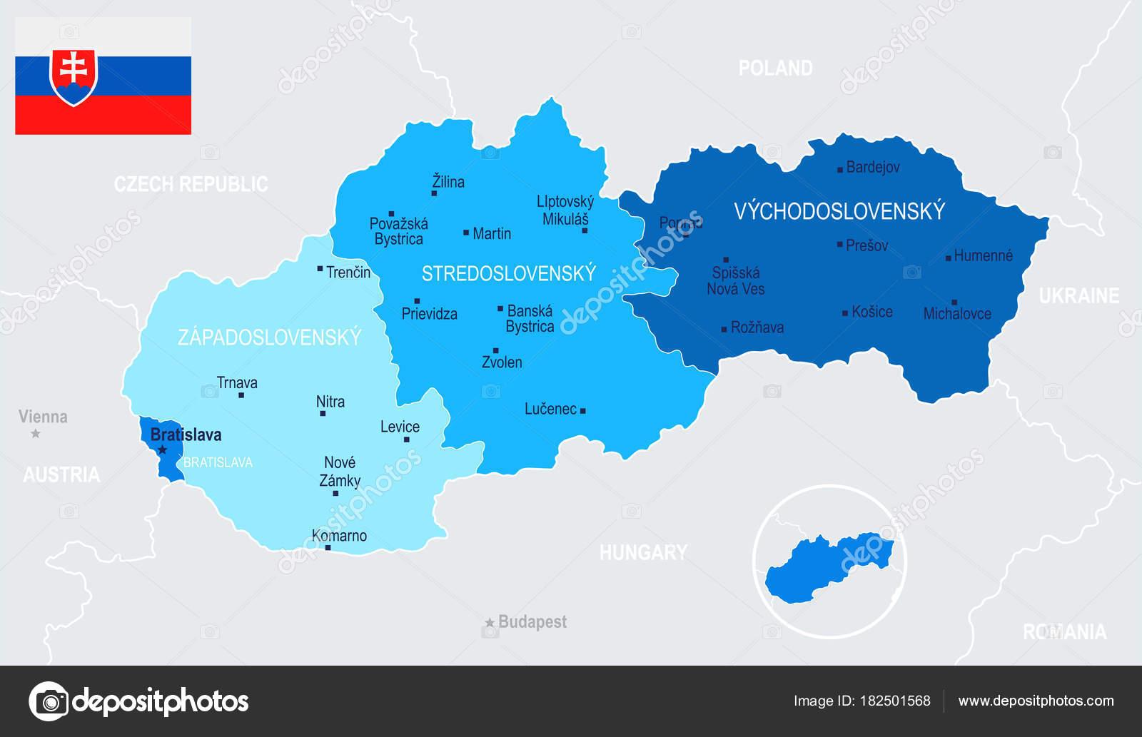 Slovakia Map Vector Illustration Stock Vector dikobrazik