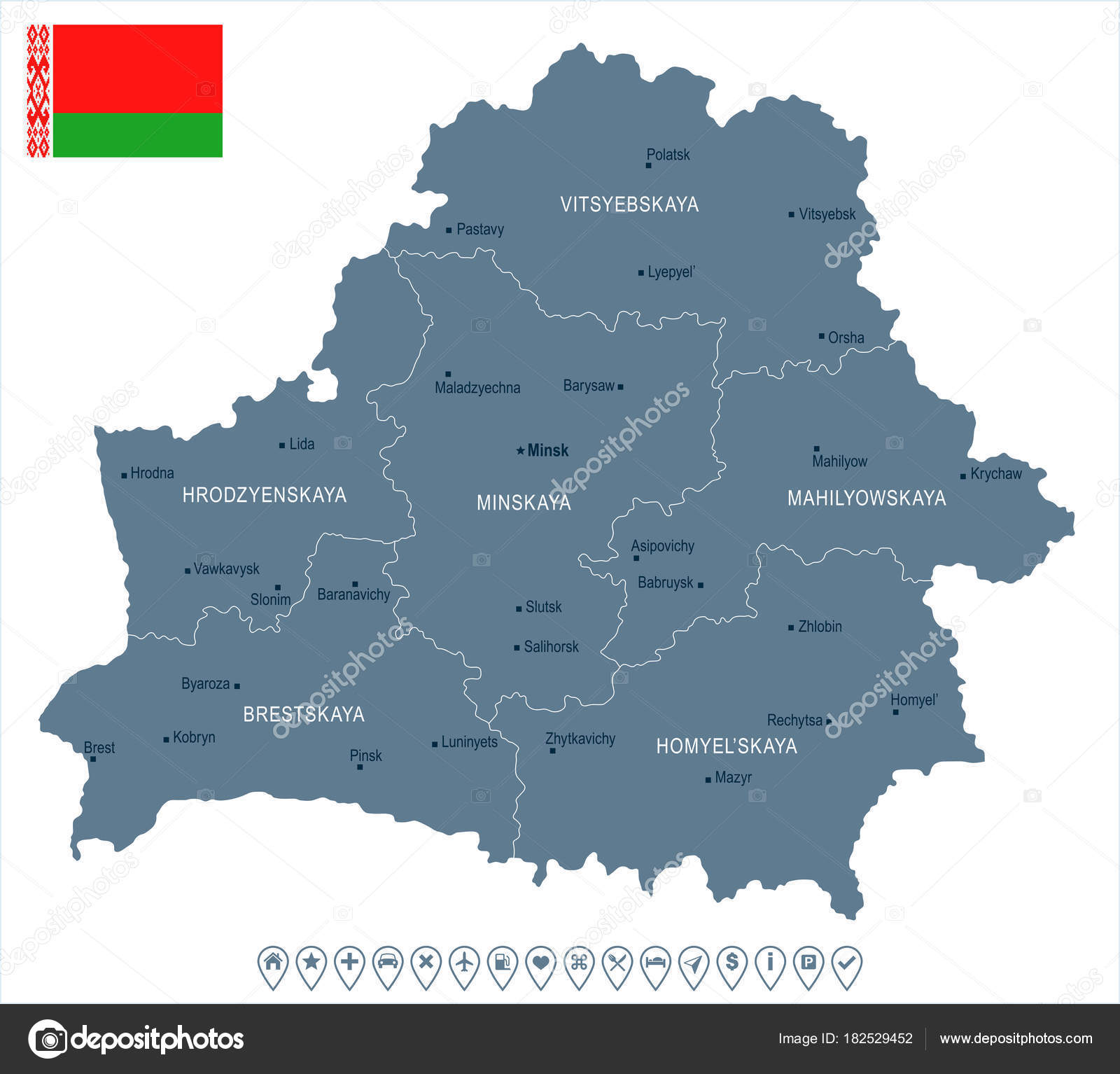 Belarus map and flag Detailed Vector Illustration Stock Vector