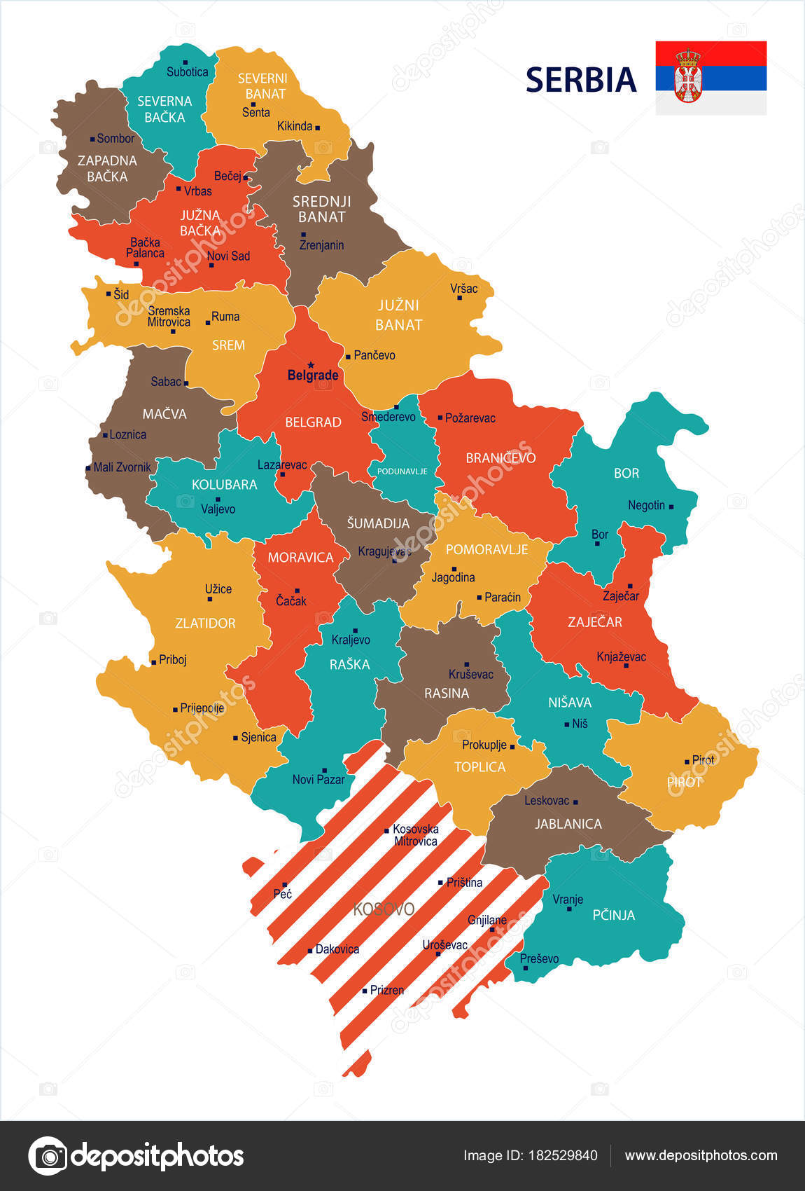 Serbia Map And Flag Detailed Vector Illustration Stock Vector