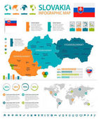 Fotografie Slovensko - infografika mapy a vlajky - podrobné vektorové ilustrace