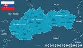 Fotografie Slovensko - mapy a vlajky - podrobné vektorové ilustrace