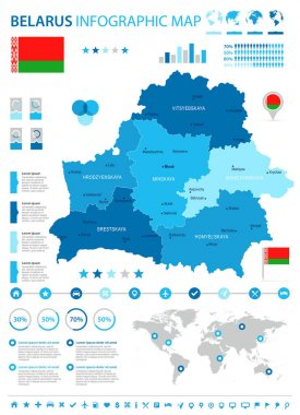 Belarus - infographic map and flag - Detailed Vector Illustration