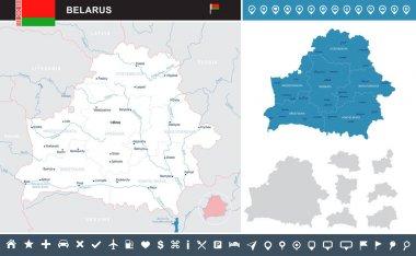 Belarus - infographic map - Detailed Vector Illustration
