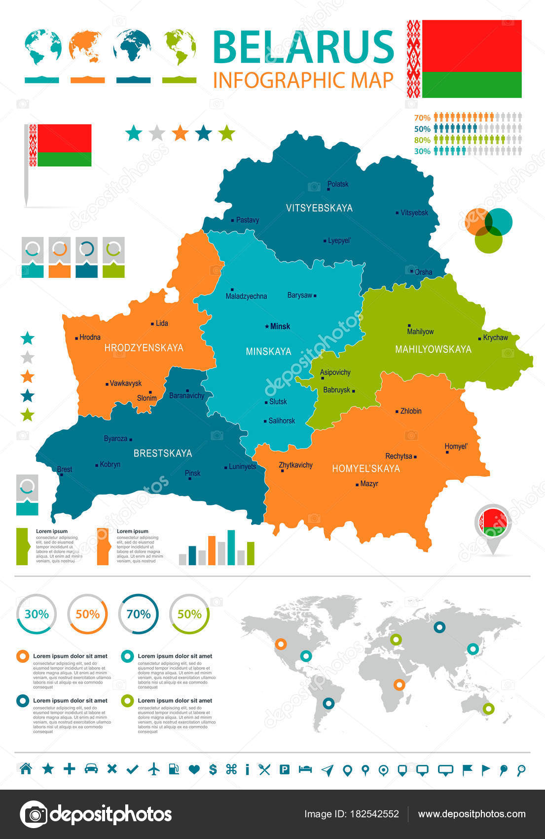 Belarus infographic map and flag Detailed Vector Illustration