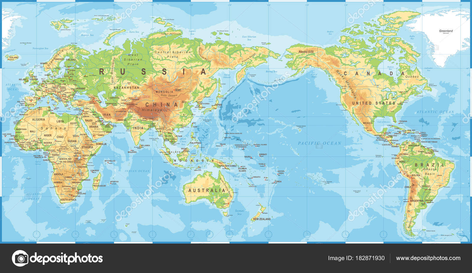 Political physical topographic colored world map pacific centered political physical topographic colored world map pacific centered stock vector gumiabroncs Gallery