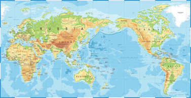 Political Physical Topographic Colored World Map Pacific Centered