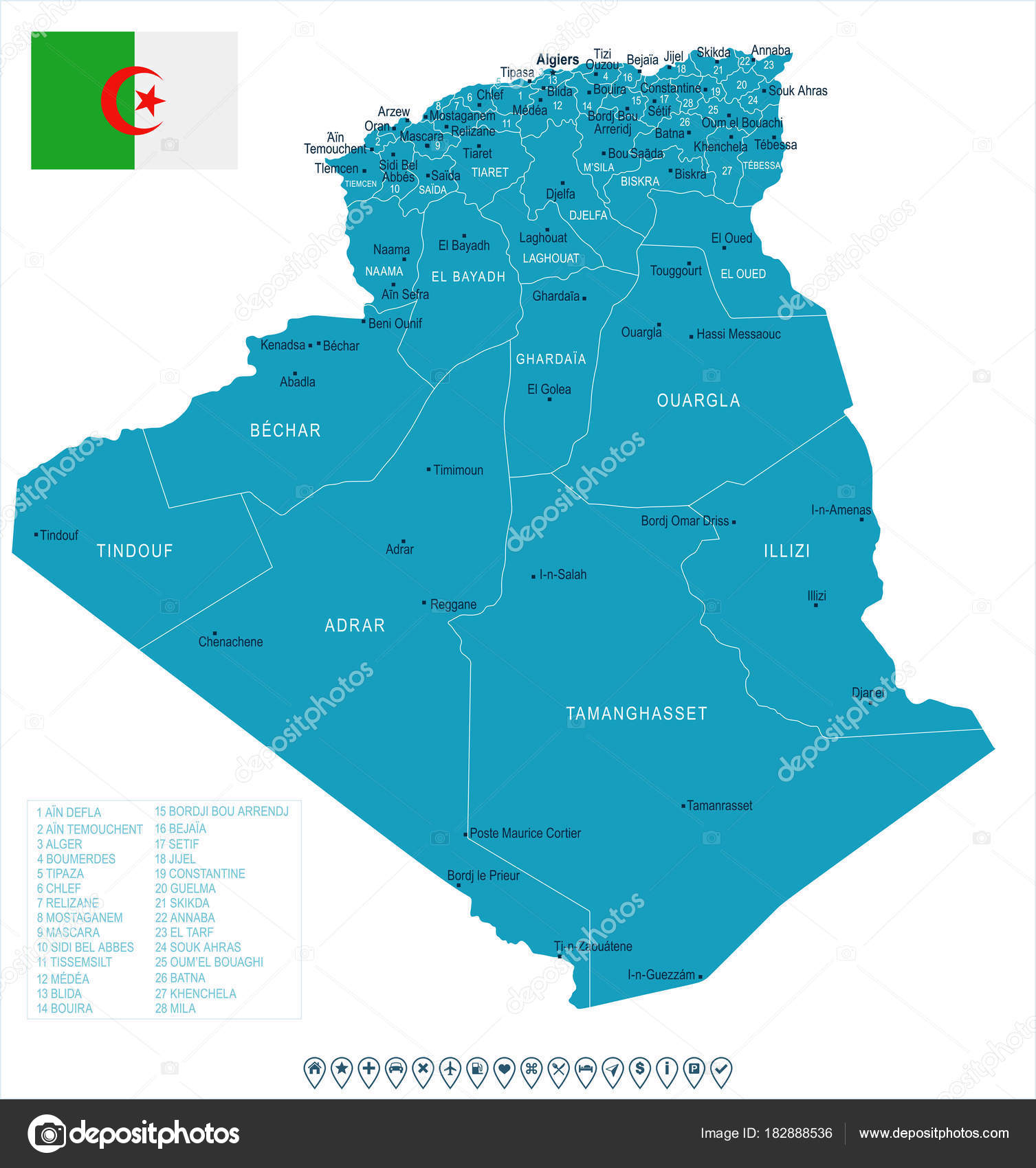 Algeria map and flag Detailed Vector Illustration Stock Vector