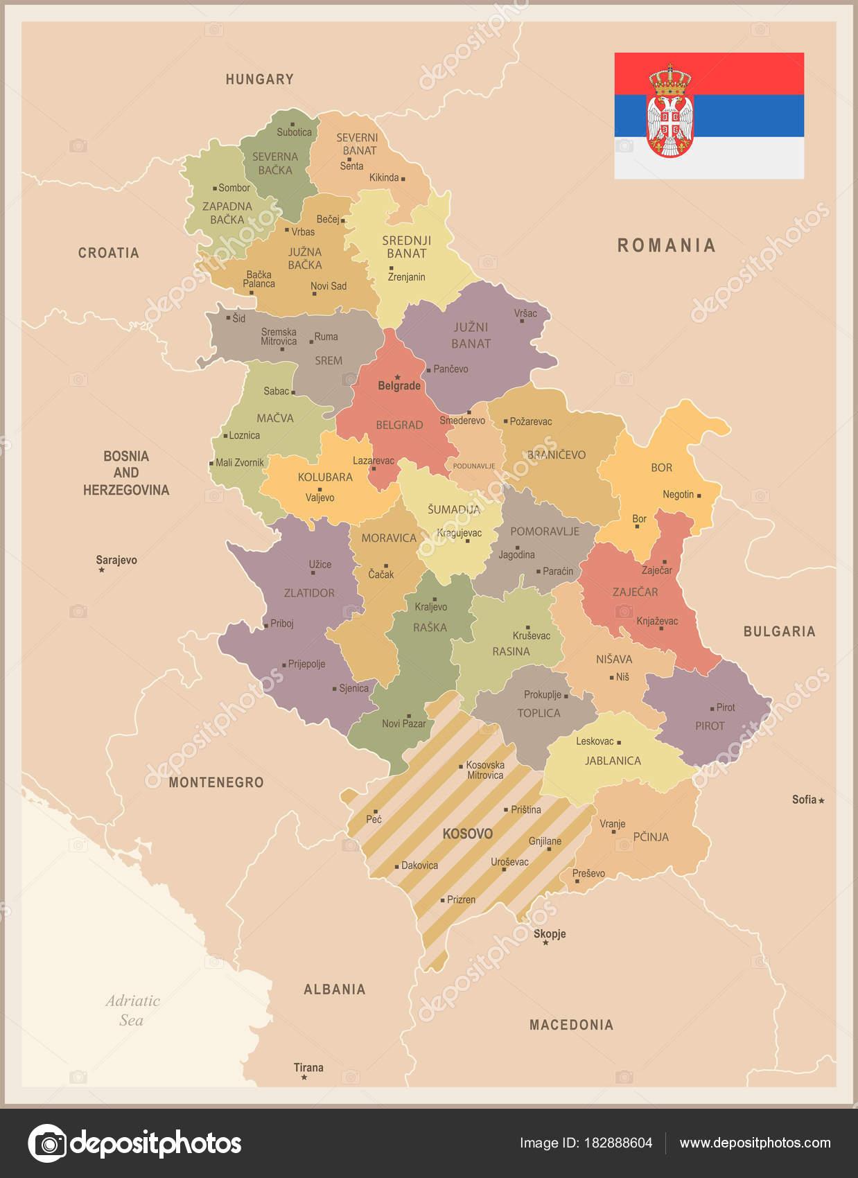 Serbia mapa vintage y bandera detallada vector ilustracin serbia mapa vintage y bandera detallada vector ilustracin vector de stock gumiabroncs Gallery